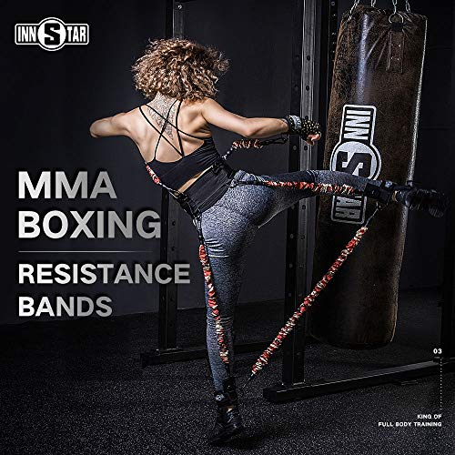 INNSTAR MMA Boxing Training Resistance Band Set Enhance Explosive Power Strength Training Equipment for Muay Thai,Karate Combat,Fitness,Basketball,Volleyball,Football Men&Women (125LB)