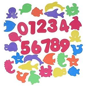 34 Pcs Mixed Baby Bath Puzzles Foam Floating Toy Animal Numbers Shape Soft EVA Kids Float Bathing Toys Infant Early…