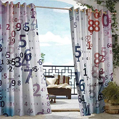 Andrea Sam Exterior/Outside Curtains Abstract,Digital Code Numbers Computer Database Science Information Technology Themed Art,Teal Black,W84 xL84 Outdoor Patio Curtains Waterproof with Grommets