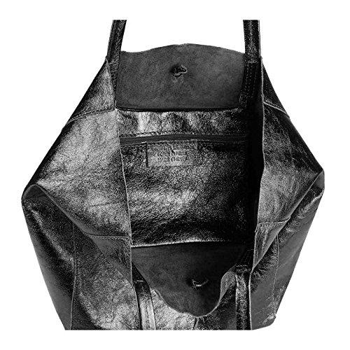 Bandoulière GOLD aspect à LxHxP main de Sac pour Sac OBC femmes Métallique sac IN Noir à din SAC cuir env cm véritable 38x36x9 Sac Tote ITALY MADE Courses tressé métallique a4 OR xH4wqBR