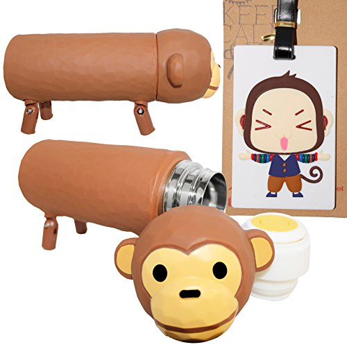 DIYJewelryDepot Travel Pack Light Brown 3D Monkey Thermos Tumbler Stainless Water Bottle...