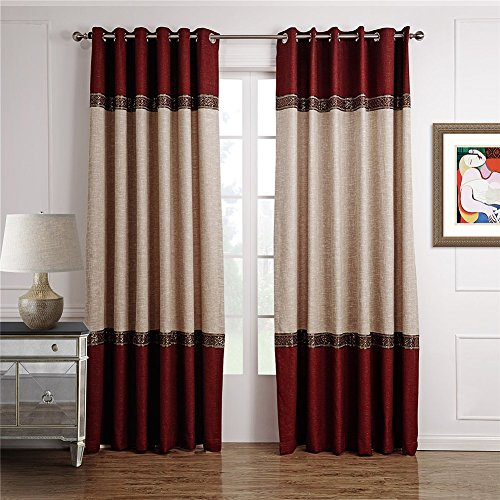 Dreaming Casa 1 Panel Grommet Top Solid Polyester Window Curtain Treatment Beige&Burgundy Two Tone 42