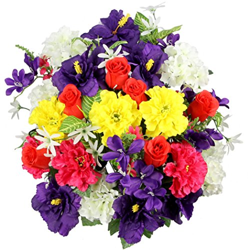 Admired By Nature Artificial Hibiscus with Rosebud, Freesias & Fillers Flower Mixed Bush for Home, Office, Restaurant & Wedding Arrangement, Spring Mix, 36 Stems