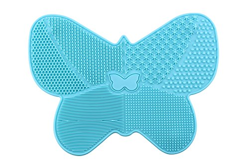 BeeChamp Portable Butterfly Shape Cosmetic Brushes Cleaning Mat Makeup Brush Cleaner Tool Scrubber Suction Cup, Blue