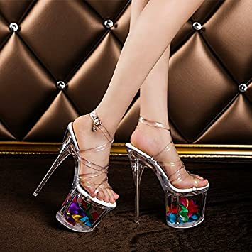 8e329045488 18 cm high heeled shoes leather shoes fashion sandals stage crystal ...