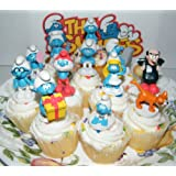 Smurf Deluxe Figure Cake Toppers / Cupcake Party Favor Decorations Set of 12 with Baby Smurf, Brainy Smurf, Smurfette, Gargamel, Azrael and More!