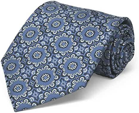 TieMart French Blue Emma Floral Pattern Extra Long Necktie