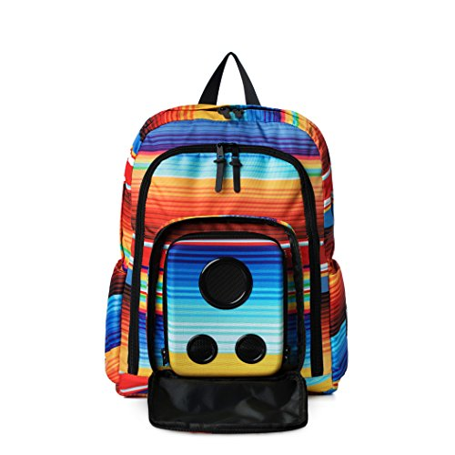 Bluetooth Speaker Backpack with 15-Watt Speakers & Subwoofer for Parties/Festivals/Beach/School. Rechargeable, Works with iPhone & Android (Rainbow, 2019 Edition)