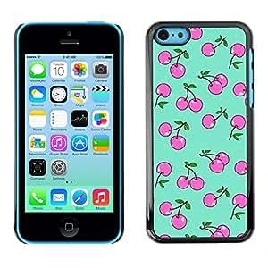 FlareStar Colour Printing Cherry Berry Berries Green Pink Pattern cáscara Funda Case Caso de plástico para Apple iPhone 5C
