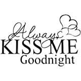 Lalang ALWAYS KISS ME GOODNIGHT Quote Wall Stickers Bedroom Removable Decals Art Mural Wall Sticker (41.5*26cm)