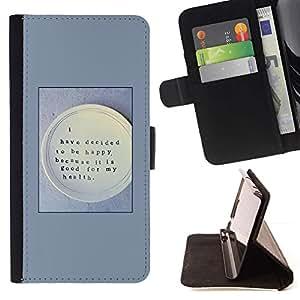 For Samsung Galaxy Note 5 5th N9200 Case , Feliz Salud Alimentaria Pensamiento Cita- la tarjeta de Crédito Slots PU Funda de cuero Monedero caso cubierta de piel