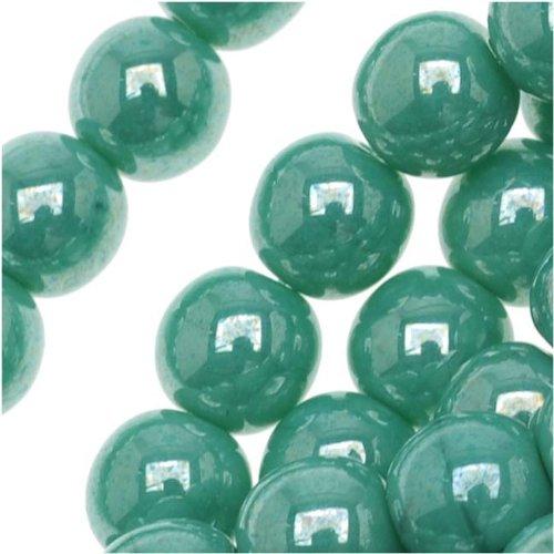 Czech Pressed Round Druk Beads (Czech Glass Druk Round Beads 6mm Green Turquoise Luster (50))