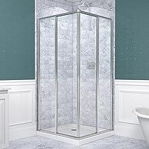 DreamLine Cornerview 34 1/2-Inch by 34 1/2-Inch Framed Sliding Shower Enclosure, Clear 5/32-Inch Glass Shower, Chrome Finish, SHEN-8134340-01