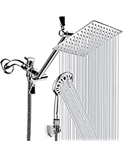 Shower Head, 8'' High Pressure Rainfall Shower Head, Handheld Shower Combo with 11'' Extension Arm, 9 Spray Settings Adjustable Shower Head with Holder / Hose, Height/Angle Adjustable Chrome Finish