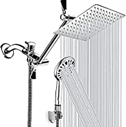 Shower Head, 8'' High Pressure Rainfall Shower Head, Handheld Shower Combo with 11'' Extension