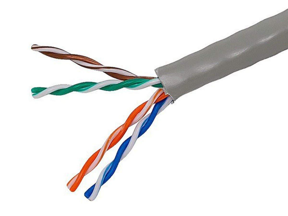 Monoprice Cat5e イーサネットバルクケーブル - ネットワークインターネットコード - ソリッド 350Mhz UTP、CMR、ライザー定格、純裸銅線、24AWG、ロゴなし、1000フィート、グレー