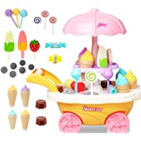 CrazyBuy Mini Candy Cart Ice Cream Shop for Childrens 30 Pcs