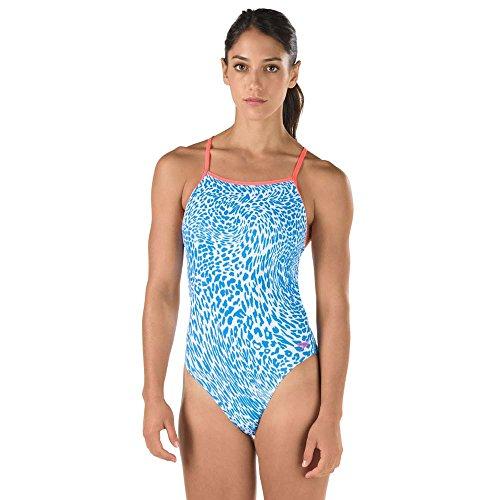 Speedo 7719600 Womens TURNZ Printed Endurance Lite One Back Swimsuit, Blue - 10/36