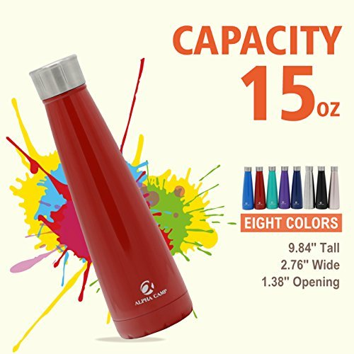 ALPHA CAMP 15 OZ Stainless Steel Water Bottle Vacuum Insulated Leak-proof Double Walled Dark Red
