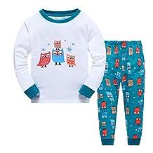 Gold treasure Little Kids Sleepwear Long Sleeve Pajama Set with Cartoon Sleepy Owls