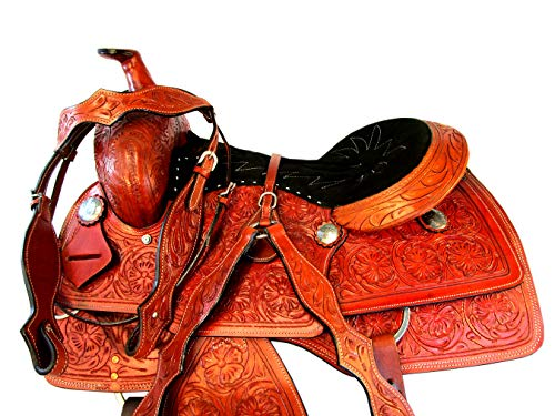 (Western 15 16 17 Roping Silla DE MONTAR Caballo Ranch Roper Working Leather Saddle (17))