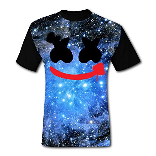 LOGvvl Funny Mens T Shirt Marsh-Mell-o Head Face Painting Fashion Play Gaming Style Casual Tees L -