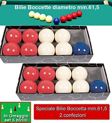 Billar frasco dos (2) Juego Bilie oah o mm.61,5, Specialita frasco 5 – 9 de bolos. 4 Bilie rojas, 4 blancas y una bola azul o mm.57. Gratis Juego 5 Birilli.: Amazon.es: Deportes y aire libre