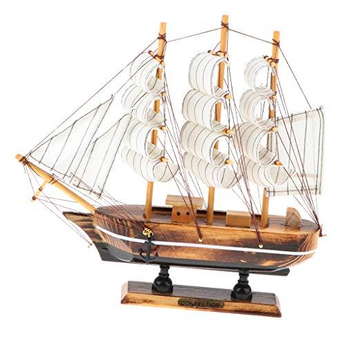 P Prettyia 家庭 子供 ボート 帆船模型 海賊船 モデル 木製 豪華 おもちゃ 装飾 全5タイプ - #c