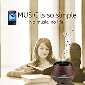 Essential Oil Diffuser Bluetooth Speakers - FUNUSE 200ml Ultrasonic Cool Mist Aromatherapy Humidifier with Music 4 Colors LED Mood Lights 4 Timers Waterless Auto Shut-off,Wood Grain,Best Holiday Gift