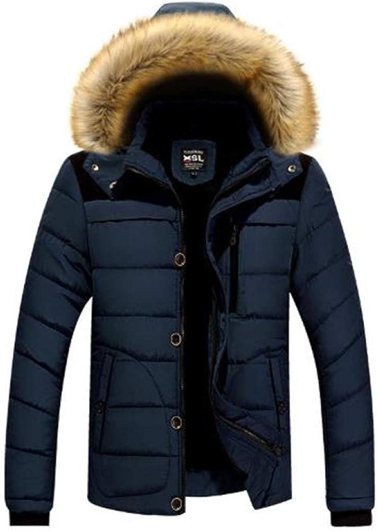 GOWINEU Chaqueta Acolchada de Invierno para Hombre Chaqueta de plumón Hombres Ropa de Abrigo con Capucha Abrigo de plumón a Prueba de Viento Azul Marino