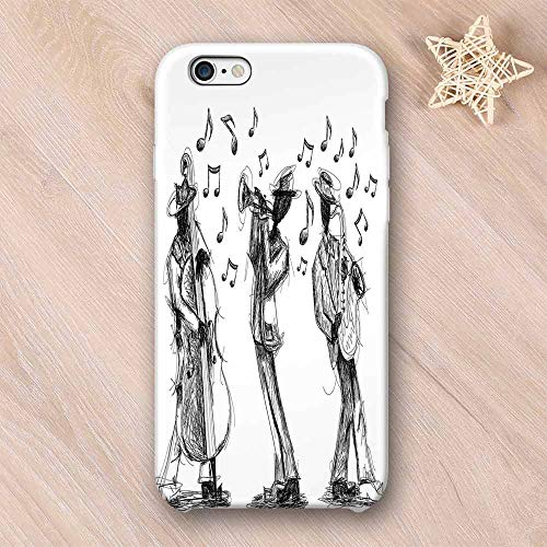 (Jazz Music Decor Stylish Compatible with iPhone Case,Sketch Style of a Jazz Band Playing Music with Instruments and Musical Notes Print Compatible with iPhone X,iPhone 6/6s )