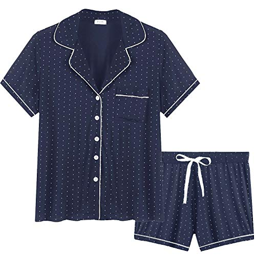Cherrydew Women's Pajamas Short Set Soft Bamboo Button Down Short Sleeve Pj Sets (Polka dot-Navy, Medium)