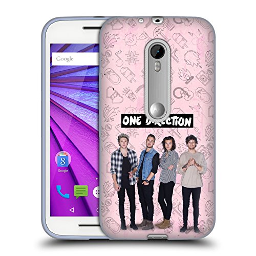 Official One Direction Pink Group Icon Soft Gel Case for Motorola Moto G (3rd Gen) (Moto G One Direction Cases compare prices)