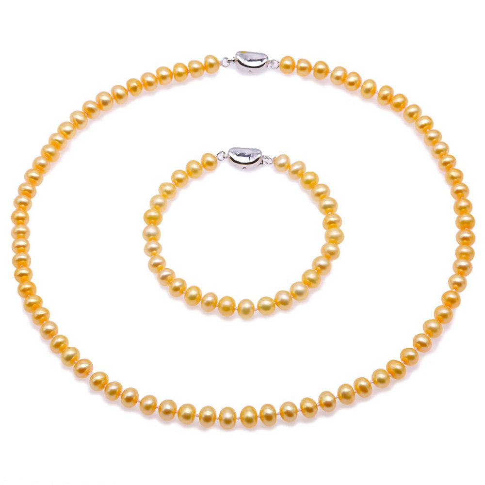 JYX Pearl Necklace Set 7-8mm AA Golden Freshwater Cultured Pearl Necklace and Bracelet Set