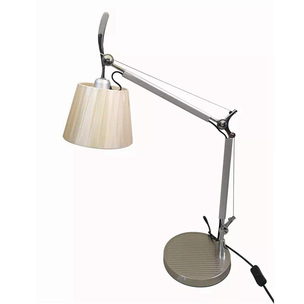 Joeyhome Post moderne LED tischlampen moderne aluminium kunst silber schreibtisch licht für foyer schlafzimmer studie einstellbare lampenmast leuchte, groß