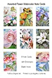 Flower Note Cards Floral Fine Art Watercolor Notecards (Set of 8) Blank Greeting Cards, Health Care Stuffs