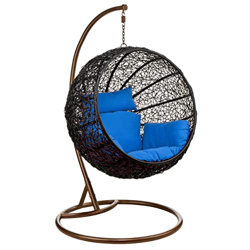 Wicker Rattan Hanging Egg Chair Swing for Indoor Outdoor Patio Backyard, Stylish Comfortable Relaxing with Cushion and Stand Blue