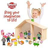 Wooden Dollhouse Family Set - 8 Piece Kit with Mom, Dad, Grandparents, Children, Baby and Dog – 100% Natural Wood, Nontoxic Paint, Smooth Edges