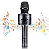 Wireless Bluetooth Karaoke Microphone, MIANOVA Bluetooth Microphone Machine for Kids , Portable Microphone and Speaker System for Home KTV Outdoor Family Party Music,for iOS & Android Smartpho (Black)