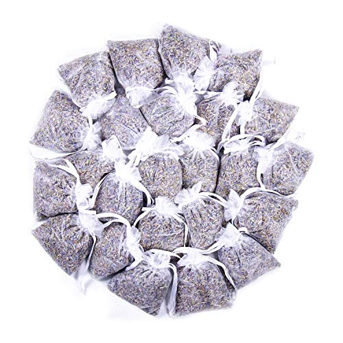 24 Small White Sachets Craft Bag with Dried French Lavender Flower Buds - Lavender Sachets for Wedding Toss, Home Fragrance Sachets for Drawers and Dressers - by Lavande Sur Terre -