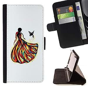 Momo Phone Case / Flip Funda de Cuero Case Cover - Girl Bird Fashion Drawing - Samsung Galaxy A3