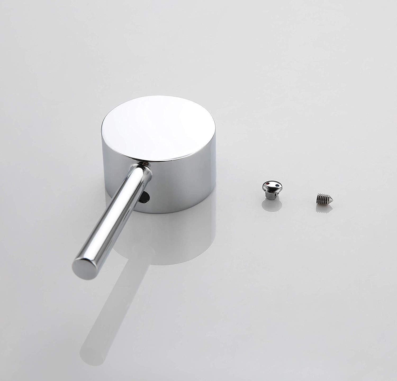 Mango de palanca de metal de repuesto universal con bot/ón y juego de tornillos cromo pulido Kelica Juego de manijas de llave para llave de una sola manija con cartucho de 35 mm