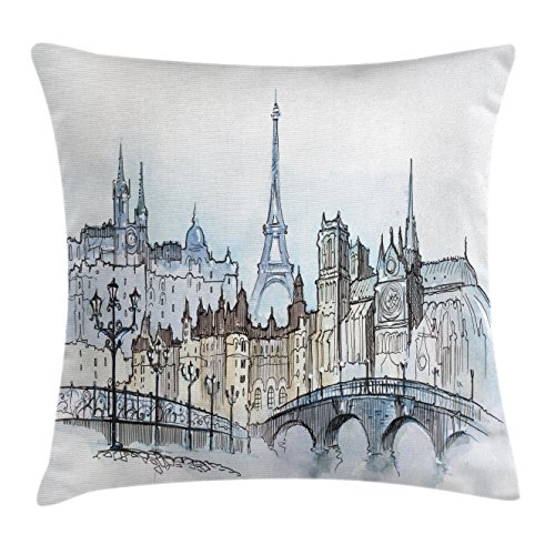 Urban Decor Throw Pillow Cushion Cover by Ambesonne, Cityscape of Paris and Eiffel Tower Illustration Old Buildings Pattern, Decorative Square Accent Pillow Case, 20 X 20 Inches, White and Blue Grey (Chair Club Paris)
