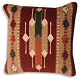 Hand Woven WOOL Throw Pillow Cover Southwest Mexican Tribal Native American Style (Cortez)