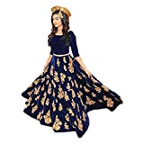 Womens Unstitched Cotton Punjabi Salwar Kameez Suit Dress Material with Dupatta Blue in Color by Salwar Style
