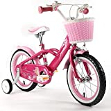 "Royalbaby pink mermaid girl's kids children bike in size 12"" 14"" 16"" 18"" with stabilisers and basket."