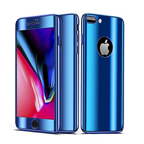 Leagway iPhone 8 7 Case Cover, Ultra Slim Electroplate 360 Degree Full Body Protection Anti-Scratch Mirror Case With Tempered Glass Screen + Hard PC Protector for Apple iPhone 7 / 8 (Blue)