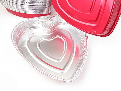 Disposable Aluminum Heart Shaped Baking Pan/Cake Pan/Goodies Pan- No LIds (100) by Handi-Foil