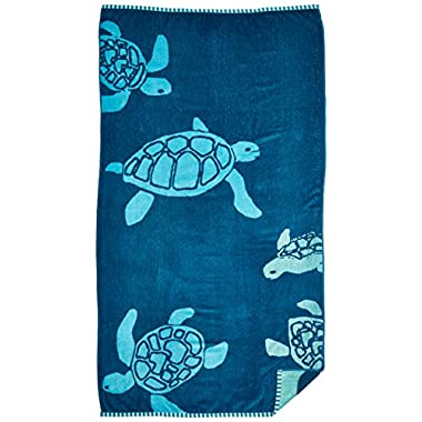 Northpoint Double Jacquard Premium Beach Towel, 34  x 63 , Solid, Ocean Blue
