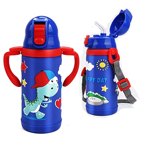 Kids Water Bottle With Straw Dinosaur Thermoses Stainless Steel Insulated Vacuum Cup BPA Free Spillproof Thermal Water Cup For Boys School Lunch - With Handle And Shoulder Strap -12oz, Blue